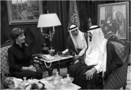 "US agents state that a ""significant terrorist act"" linked to Iran which would have included the assassination of the Saudi US ambassador Adel al-Jubeir (seen here seated with former US First Lady Laura Bush and King Abdullah) has been foiled recently."
