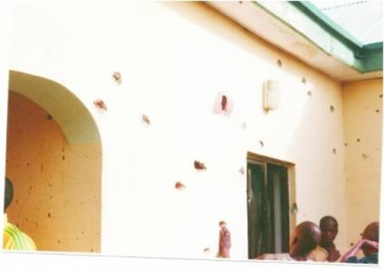 Bullets holes in the Wall of the Compound.
