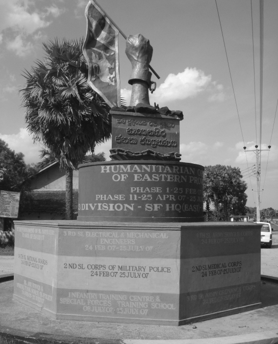 Victory monument at Karadiyanaru junction - Sri Lanka