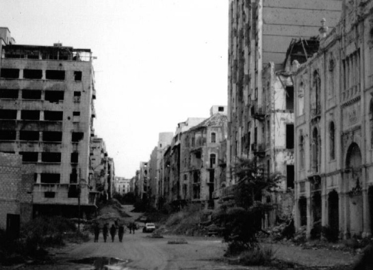 Green Line in Beirut, Lebanon during the Lebanese Civil War from 1975 to 1990.
