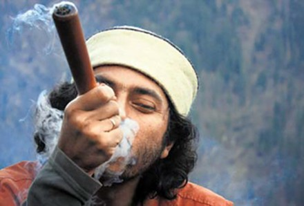 Filmmaker Amlan Dutta smoking...something.
