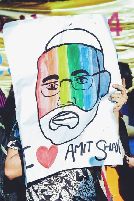 Modi (India's Prime Minister) loves Amit Shah (the BJP President), the poster implies.
